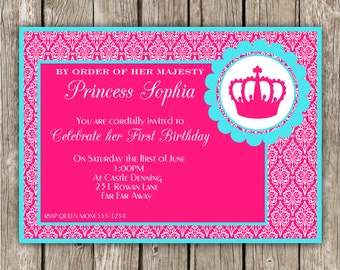 Her Royal Majesty Princess Party Invite - Princess Birthday Party - DIY Printable
