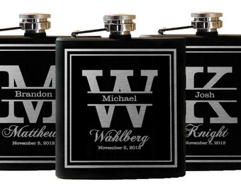 12 Groomsmen Gifts - Personalized Flask, Engraved Flask, Custom Flask, Stainless Flask, Set of 12