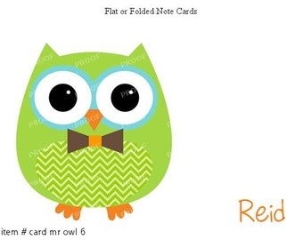 Green Bow Tie Owl Note Cards Set of 10 personalized flat or folded cards