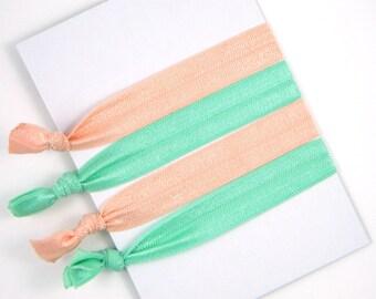 Hair Elastic Ribbons -- Mint and Peach