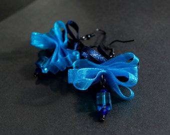 Down This Blue, Blue Road.. - Fancy Blue Ribbon Cube Chystal Bead Earrings