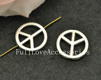 30pcs 15mm Antique Silver Peace Charm Connector, Peace Sign Beads, Peace Pendants, Peace Symbol, Peace Beads