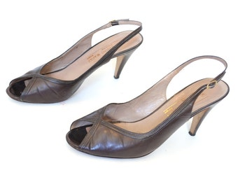 85 9 Brown pumps, designer shoes, brown heels, brown peeptoes, brown sling backs,  leather shoes, vintage shoes