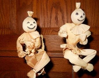 Ghost, ScareCrow, Pumpkin Head, Vintage, Corn Husk, Halloween, Fall, Thanksgiving, Figurine, Treasury Pick