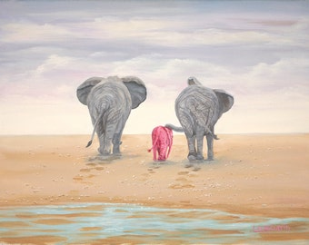 "Headed Home 8"" x 10"" Print - 11"" x 14"" with  matting. Pink Elephants"