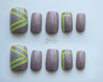 Neon Neutral Hand Painted Fake Nails