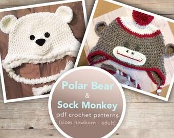 Sock Monkey and Polar Bear Crochet Hat Patterns   Polar Bear Hat Pattern Crochet PDF   Sock Monkey Hat Crochet Pattern  