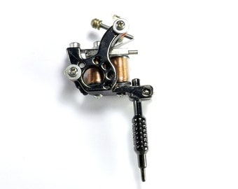 Tattoo Gun Pendant, 77mm or approximately 3 inches, Tattoo artist tool, Gun metal, Body Art Charm, ENA040