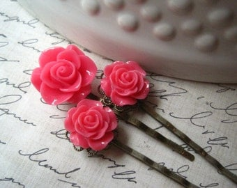 Bobby Pin Set, Flower Hairpins, Dark Pink Flowers, Bobby Pins, Wedding Hair Accessory, Prom Hair Accessory, Bridesmaid Gift