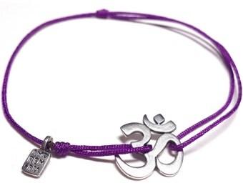 Sterling Silver Om Bracelet (Aum) - Yoga Bracelet, Mantra Om (Aum) cord bracelet, sacred symbol of divine energy