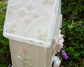 Shabby Chic  Cottage Rose Garden Birdhouse, Porcelain Perch, Embossed Tin Roof, Handcrafted