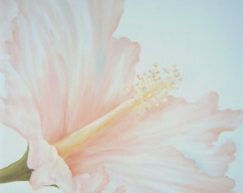 Peach Hibiscus Floral, Original Oil Painting by Lauren Kusar, Free Shipping
