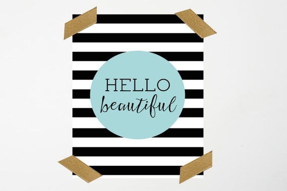 Hello Beautiful Printable Wall Art (8x10) // Home Wall Decor // Inspirational Art Print // Instant Downlaod