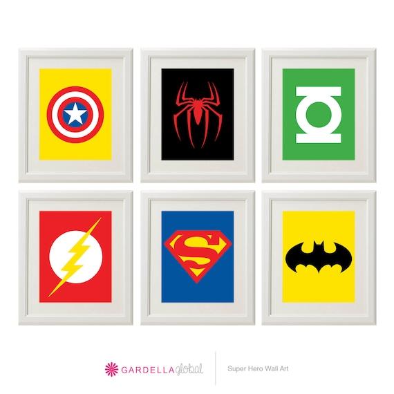 Superhero wall art superhero art superhero by gardellaglobal for Superhero wall art