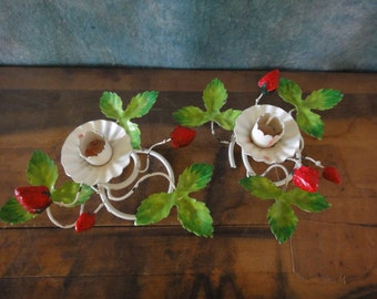 Vintage Pair of Italian Chippy Tole Strawberry Candlestick Holders