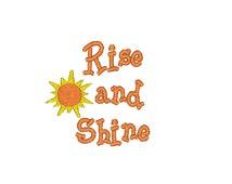 Rise and Shine Machine Embroidery Design / breakfast / brunch / sunshine / happy / cheerful / yellow / orange / white