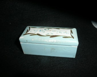 Antique Small Elfinware Handpainted Blue Stamp Box Germany