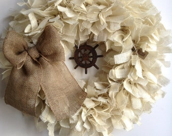 "24"", Burlap Beach Wreath, Nautical Wreath, Spring Wreath, Summer Wreath,  Wreath, Ship Wheel Wreath, Beach Wreath, Cream Wreath"