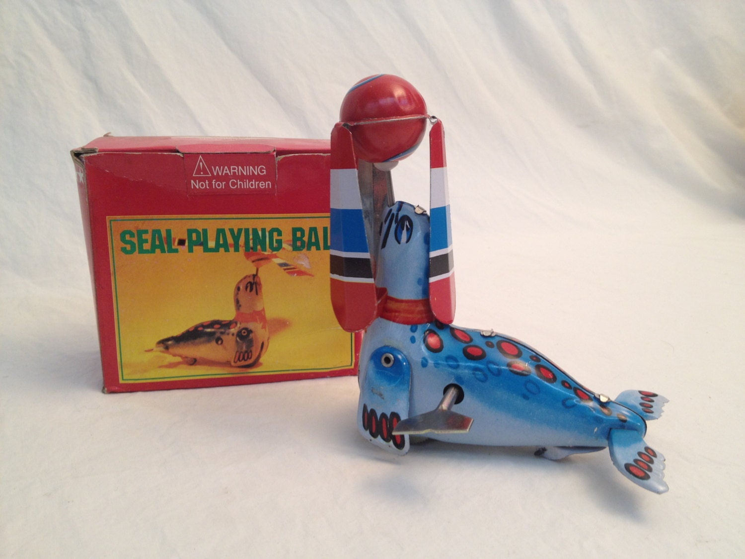 Toys For Seals : Vintage tin seal playing ball toy