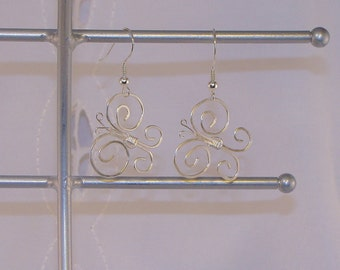 Wire wrapped butterfly earrings