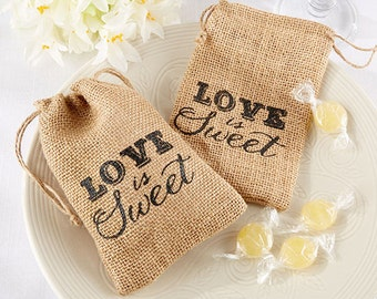 12 Burlap Favor Bags Love is Sweet Burlap Drawstring Favor Bags Wedding Favor Bags