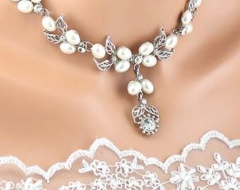 Bridal Necklace Wedding Necklace Bridal Jewelry Wedding Jewelry Bridal Pearl Necklace Set Wedding Pearl Necklace Set