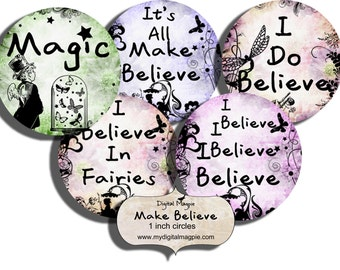 digital collage sheet 1 inch circles make believe quotes pendant circles fairies magic printable round images for jewelry