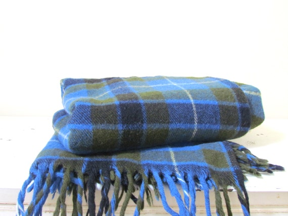 Vintage Fariboult Mills Wool Throw Blanket in Blue and Olive, 1980's