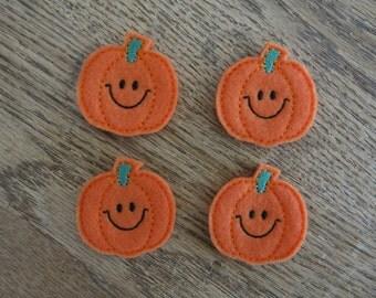 """Smiley Pumpkin Felt Embellishment, set of 4, Felties, 1.75"""" x 1.75"""""""