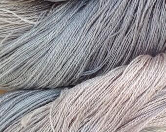 Cobweb Lace Silk Yarn, Hand Dyed Spun Silk Yarn, Weaving, Cobweb Lace Knitting, 30/2 Mulberry Silk Yarn, Colour No.56 Pebble
