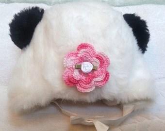 Baby Infant Newborn Girls Faux Fur Panda Hat -  Handmade Irish Rose - Sizes 0-3 and 6-12 months