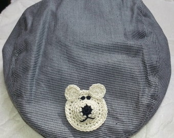 Baby Infant Toddler Boys Newsboy Golf Hat Cap - Handmade Teddy Bear - Grey Black Checks - Two Sizes:  6-12, and 12 -24 months