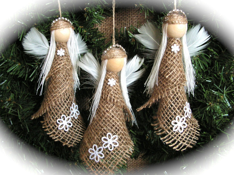 Christmas Ornament Burlap Angel Set Of 3