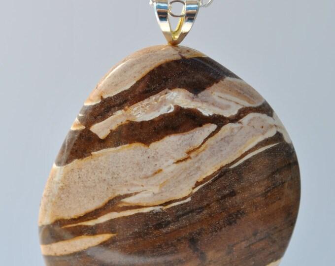 Brown Zebra Jasper stone Pendant Necklace on Sterling Silver chain simple, boho, minimalist