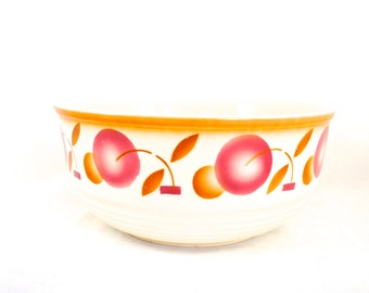 French Ceramic Bowl Fruit Large French Stencil Rustic Kitchen Decor Orange Pink Cream