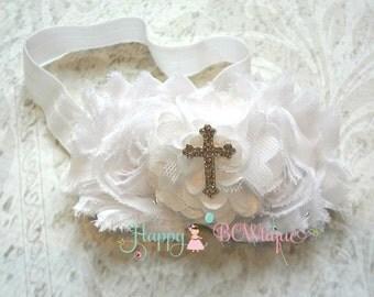 Baptism, trio White Cross headband,White Headband,newborn headband,baptism headband,christening headband,dedication ceremony,church ceremony