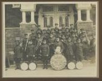 Kutztown PA military music band with drum and white lap dog antique photo