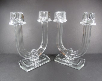 Vintage Heisey Glass New Era #4044 Double Light Candlesticks Pair