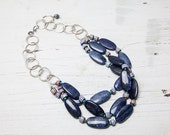 Dumortierite 3 strand necklace; handmade one of a kind by ladeDAH! jewelry