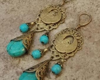 Vintage Egyptian Scarab Earrings