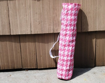 Yoga Mat Tote Bag Houndstooth Pink  Cotton Twill