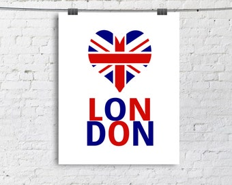 S A L E 8x10 Love London - Typography Poster - Quote Print - Typographic Print - Red - Blue