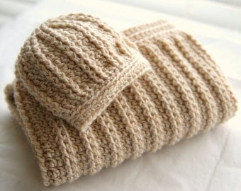 Baby Cocoon & Newborn Hat Set. Sleep Sack with Baby Hat. Cozy Ribbed Textured Sleep Cocoon