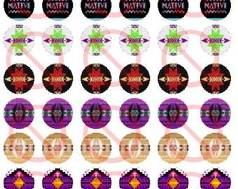 Native Print Design 1' Bottle Cap Images