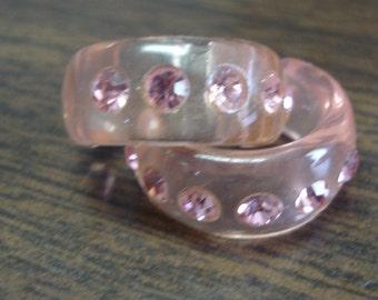 Pink Lucite Rhinestone Earrings