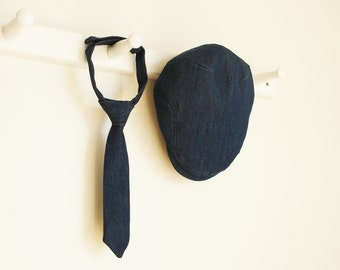 Denim photo prop hat and tie set, denim necktie and denim flat cap, baby shower gift for boys - photo prop  -  made to order
