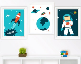 "Space Nursery Art Print Set of 3- 11""x14"""