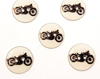 "5 Motorcycle Sewing Buttons.  3/4"" or 20 mm Handmade Buttons. Vintage Image Motorcycle."