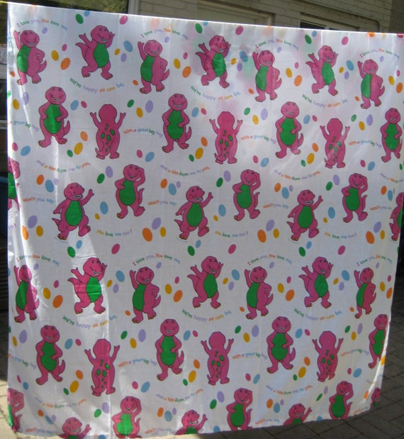Reserved vintage barney bedding twin size flat by for Purple dinosaur fabric
