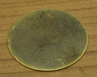 5 Pieces Antique Brass  40 mm -25 GAUGE Stamping Disc
